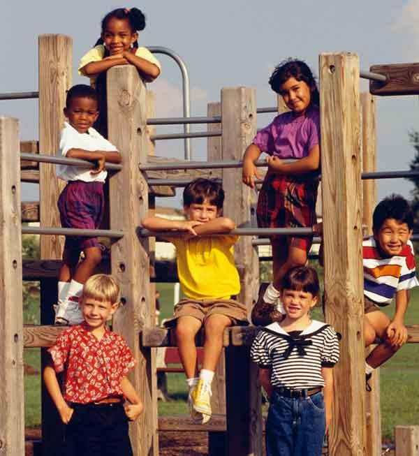 Children playing on playground.